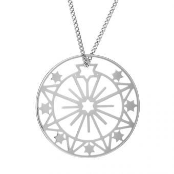 Naszyjnik ASTRO srebrny ażurowy medalion
