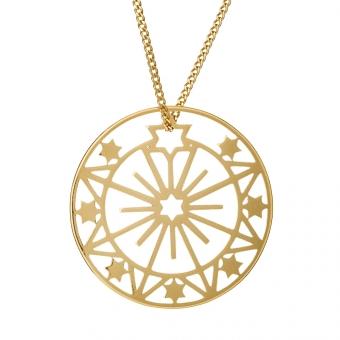 Naszyjnik ASTRO srebrny pozłacany ażurowy medalion