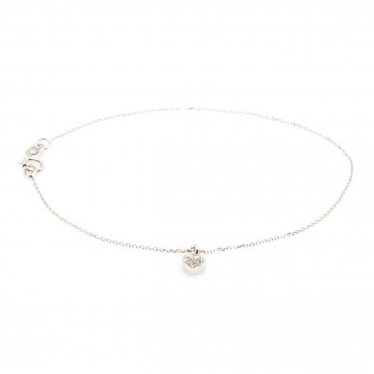 Bransoletka DIAMONDS białe złoto 585 z brylantem i serduszkiem
