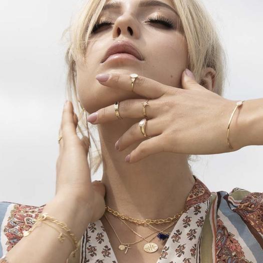 Bransoletka ASTRO srebrna pozłacana z masą perłową