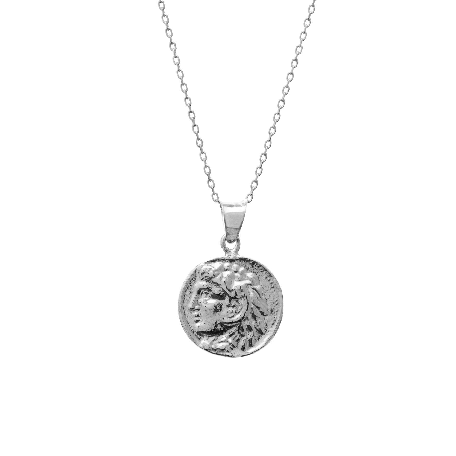 Naszyjnik TRENDY srebrny z monetą 1,4 cm