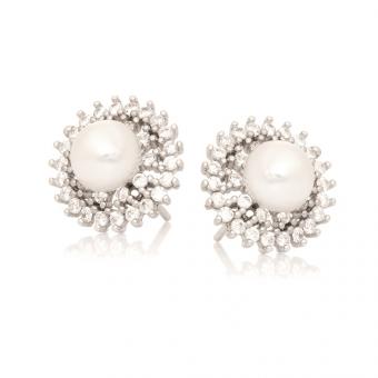 Kolczyki CEREMONY srebrne z cyrkoniami i perłą