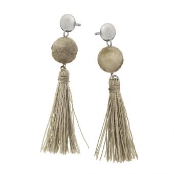 Kolczyki LARA srebrne z szarymi frędzlami i labradorytem