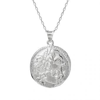 Długi naszyjnik TRENDY srebrny z monetą 2,1 cm