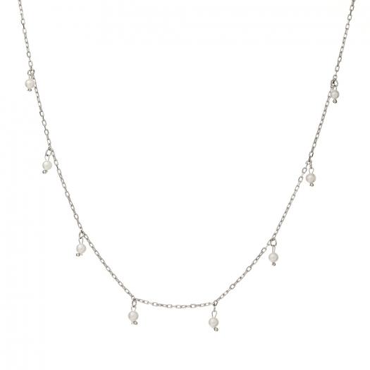 Naszyjnik CLASSY srebrny z perłami