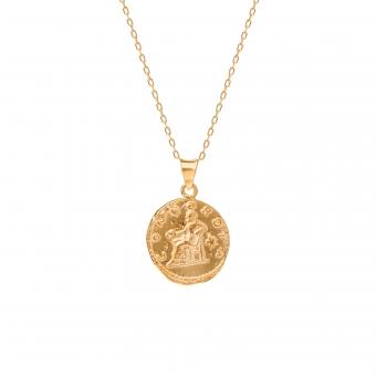 Naszyjnik TRENDY srebrny pozłacany z monetą 1,7 cm