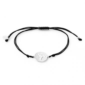 Bransoletka sznurkowa URBAN CHIC srebrna z monetą