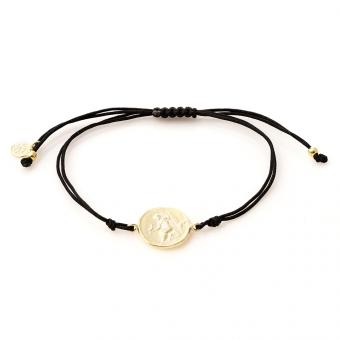 Bransoletka sznurkowa TRENDY srebrna pozłacana z monetą