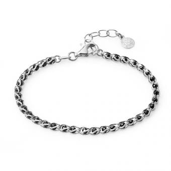 Bransoletka OVAL srebrna z czarnymi kryształkami