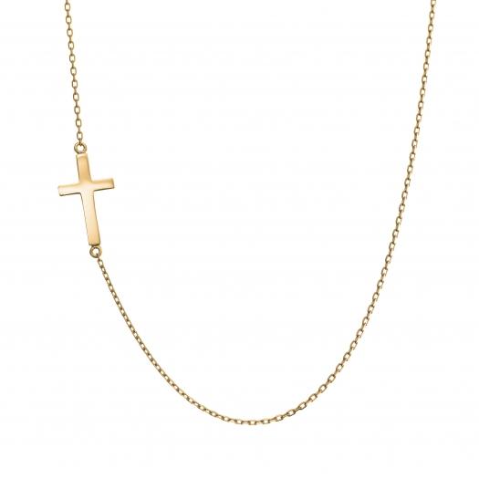 Naszyjnik celebrytka BELIEVE srebrny pozłacany z krzyżykiem