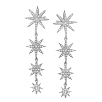 Kolczyki ASTRO srebrne z gwiazdkami i cyrkoniami