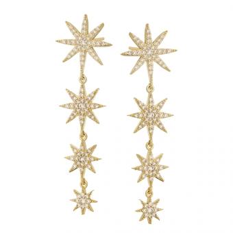 Kolczyki ASTRO srebrne pozłacane z gwiazdkami i cyrkoniami