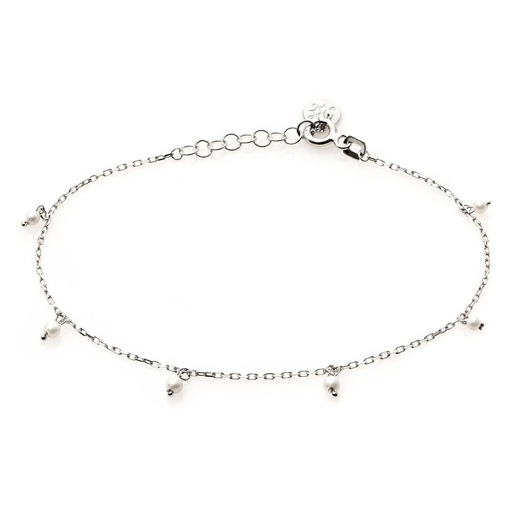 Bransoletka na nogę ARIEL srebrna z perłami