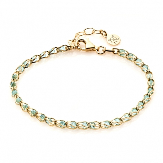 Bransoletka OVAL srebrna pozłacana z turkusowymi kryształkami