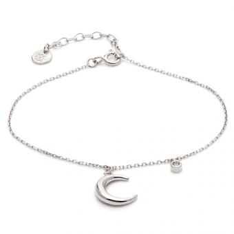 Bransoletka WILD srebrna z księżycem i cyrkonią