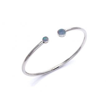 Bransoletka sztywna OPAL srebrna z naturalnym kamieniem opal