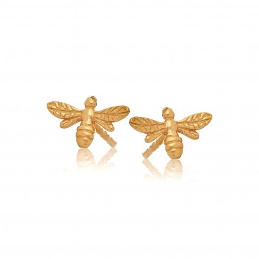 Kolczyki ROSALIE srebrne pozłacane z pszczółką