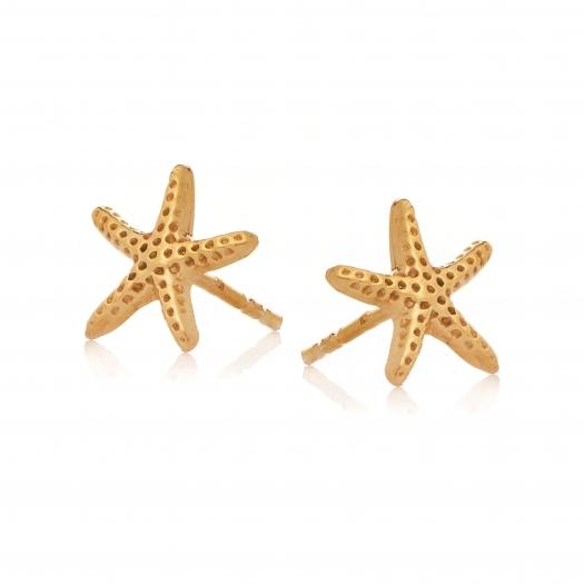 Kolczyki ARIEL srebrne pozłacane rozgwiazdy