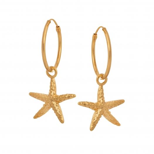 Kolczyki ARIEL srebrne pozłacane z rozgwiazdą