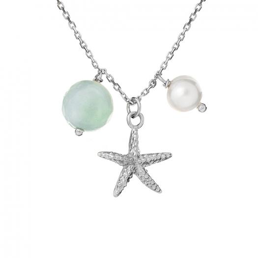 Naszyjnik ARIEL srebrny z rozgwiazdą, perłą i awenturynem