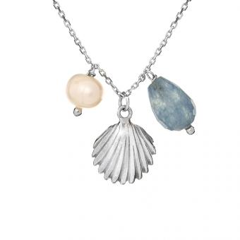 Naszyjnik ARIEL srebrny z muszelką, perłą i angelitem
