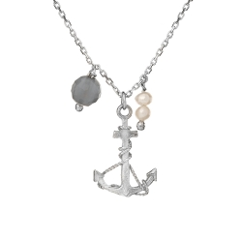 Naszyjnik ARIEL srebrny z kotwicą, perłą i agatem
