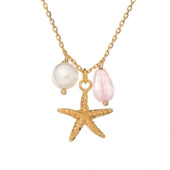 Naszyjnik ARIEL srebrny pozłacany z rozgwiazdą, perłą i kwarcem