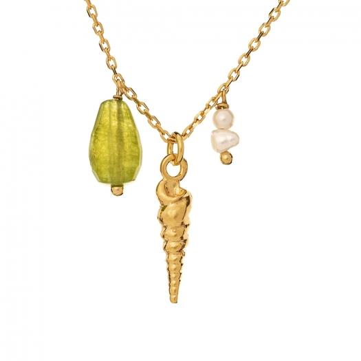 Naszyjnik ARIEL srebrny pozłacany z muszelką, perłą i jadeitem