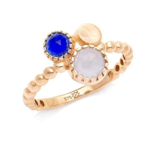 Pierścionek DOLCE VITA złoty z niebieskim i białym kwarcem