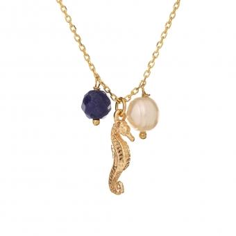 Naszyjnik ARIEL srebrny pozłacany z konikiem morskim, perłą i sodalitem
