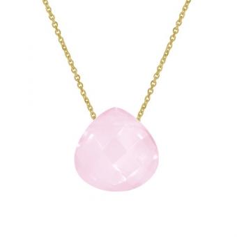 Naszyjnik DOLCE VITA złoty z kwarcem różowym