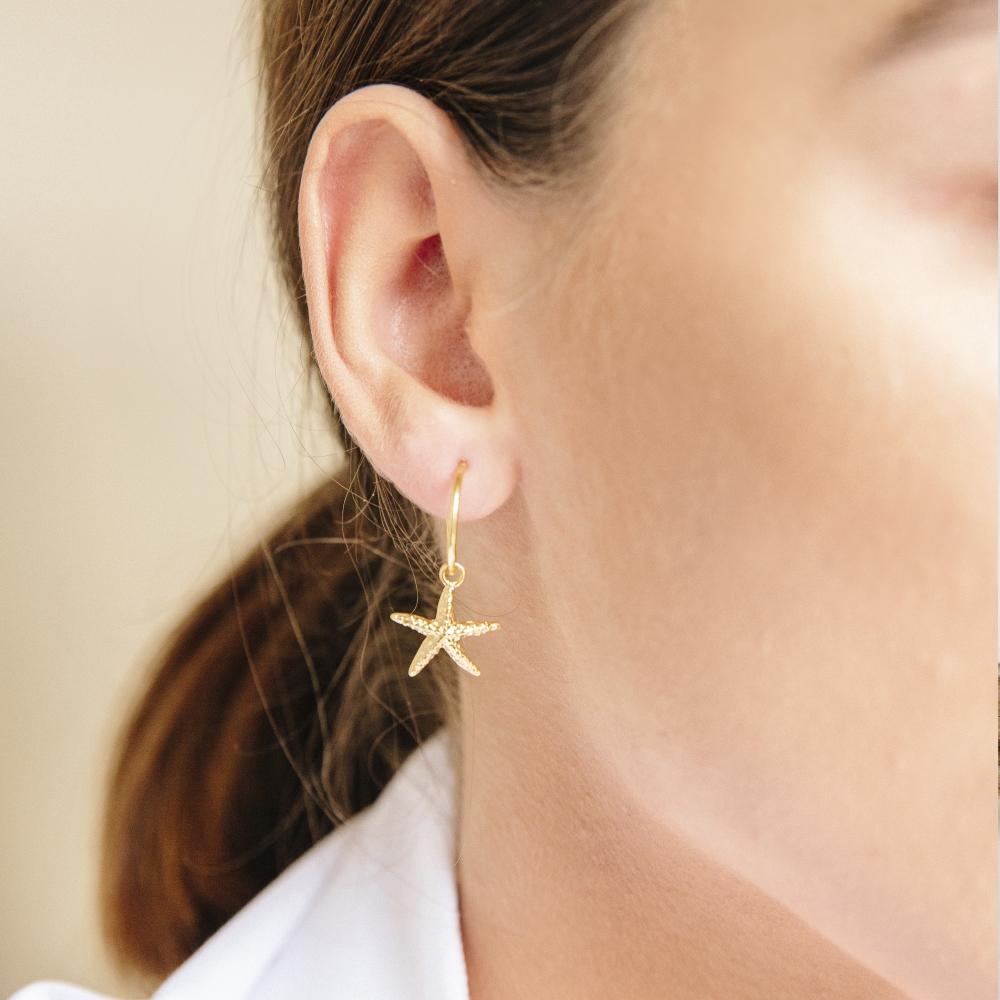 Kolczyki ARIEL srebrne pozłacane z rozgwiazdami
