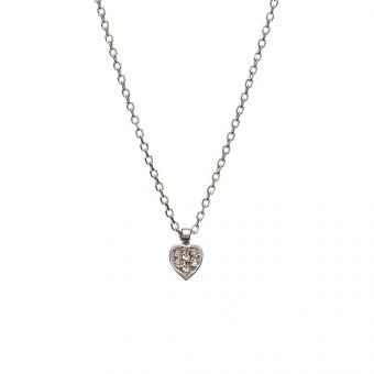 Naszyjnik DIAMONDS białe złoto 585 z brylantami i serduszkiem