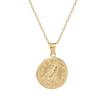 Długi naszyjnik TRENDY srebrny pozłacany z monetą 1,7 cm