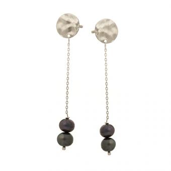 Kolczyki ARIEL srebrne z czarnymi perłami