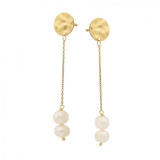 Kolczyki ARIEL srebrne pozłacane z białymi perłami