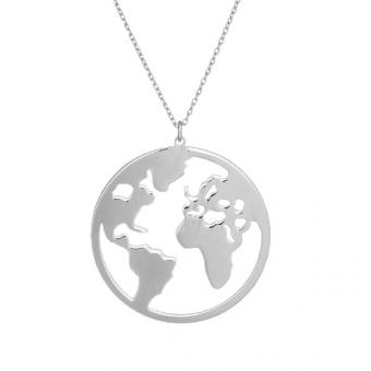 Długi naszyjnik AZYMUT srebrny mapa 2,5 cm