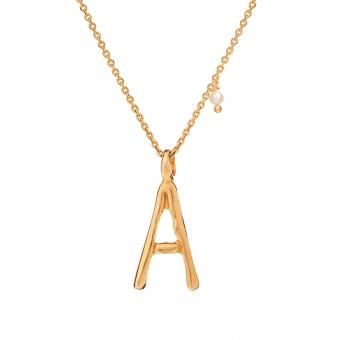 Naszyjnik ARIEL srebrny pozłacany z literą A
