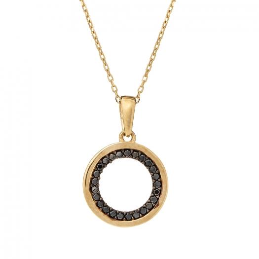 Wisiorek ROYAL złoty z czarnymi cyrkoniami