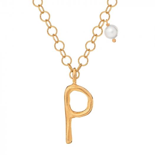 Naszyjnik Ania kruk x Pozerki srebrny pozłacany z literą P i naturalną perłą