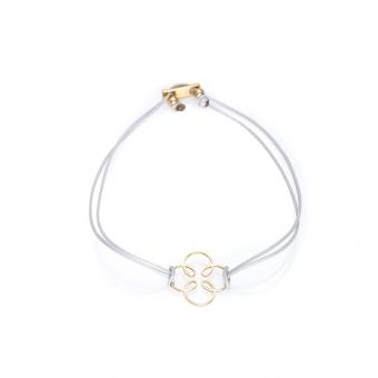 Bransoletka sznurkowa FANTASIA złota z kwiatkiem