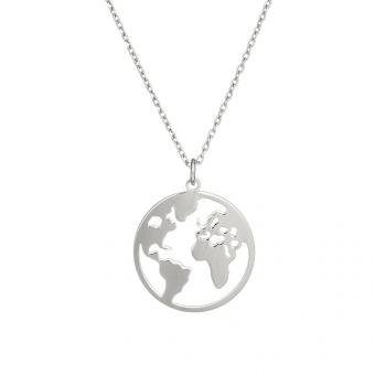 Naszyjnik AZYMUT srebrny mapa