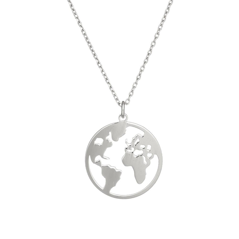 Naszyjnik AZYMUT srebrny z mapą
