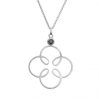 Naszyjnik FANTASIA srebrny z cyrkonią i kwiatkiem