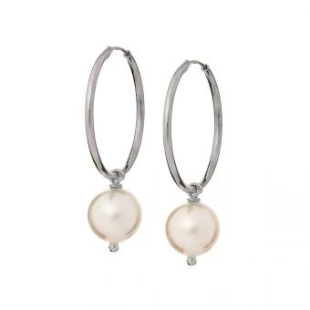 Kolczyki ARIEL srebrne kółka 2 cm z naturalną perłą