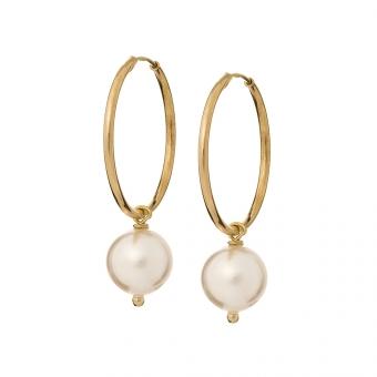Kolczyki ARIEL srebrne pozłacane kółka 2 cm z naturalną perłą