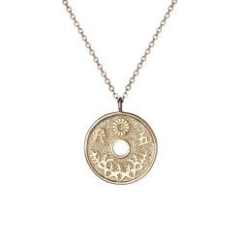 Naszyjnik ASTRO srebrny pozłacany z japońską monetą