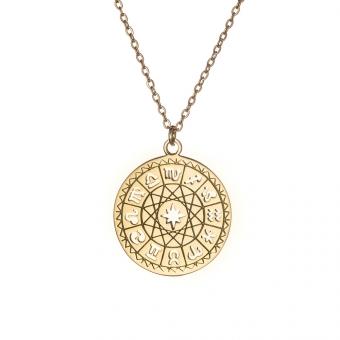 Naszyjnik SKY srebrny pozłacany ze znakami zodiaku