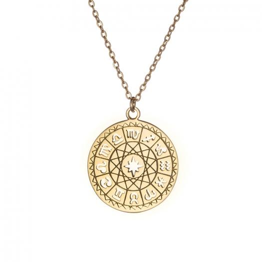 Naszyjnik ASTRO srebrny pozłacany ze znakami zodiaku