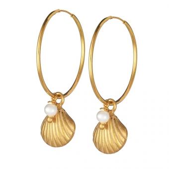 Kolczyki ARIEL srebrne pozłacane koła 2 cm z perłami i muszelkami